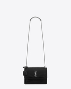SAINT LAURENT Sunset D Sac medium SUNSET MONOGRAMME SAINT LAURENT en cuir embossé façon crocodile noir f
