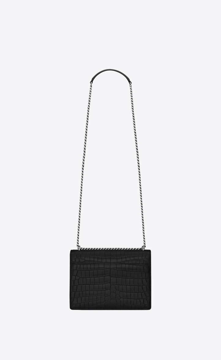 Saint Laurent Medium Sunset Bag In Black Crocodile Embossed ... fdc4fe9448081