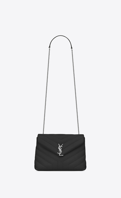 "SAINT LAURENT Monogramme Loulou D small loulou monogram chain bag in black ""y"" matelassé leather a_V4"