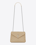"SAINT LAURENT Monogramme Loulou D small loulou monogram chain bag in powder ""y"" matelassé leather f"