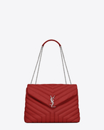 "SAINT LAURENT Monogramme Loulou D bag medium loulou monogram con catena color rosso lipstick in pelle matelassé a ""Y"" f"