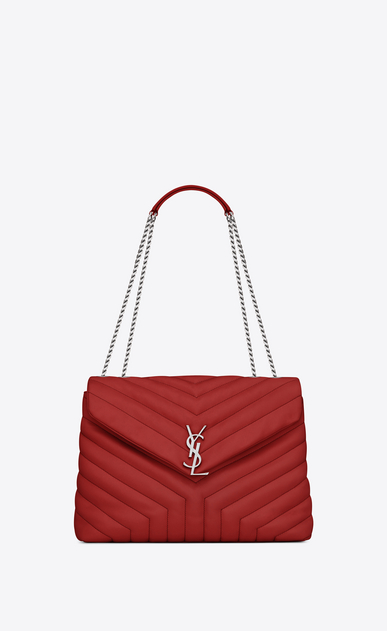 "SAINT LAURENT Monogramme Loulou D medium loulou monogram chain bag in lipstick red ""y"" matelassé leather a_V4"
