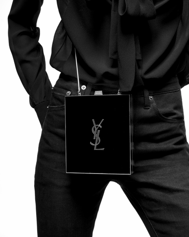 SAINT LAURENT YSL boxes Woman tuxedo box bag in black and gold plexiglas y_V4