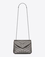 "SAINT LAURENT Monogramme Loulou D small loulou monogram chain bag in gunmetal and black ""y"" metallic matelassé leather f"