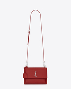 SAINT LAURENT Sunset D satchel medium sunset en cuir grainé rouge lipstick f