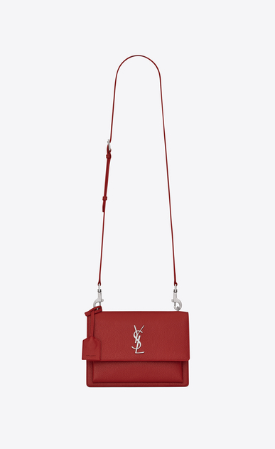 SAINT LAURENT Sunset Woman medium sunset satchel in lipstick red grained leather a_V4