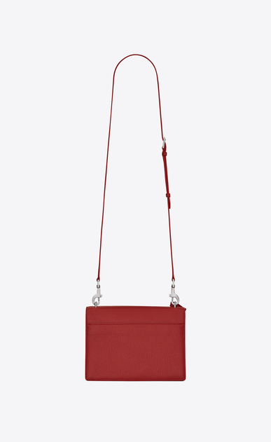 SAINT LAURENT Sunset Woman medium sunset satchel in lipstick red grained leather b_V4