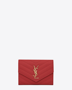 SAINT LAURENT Monogram Matelassé D monogram passport case in lipstick red f