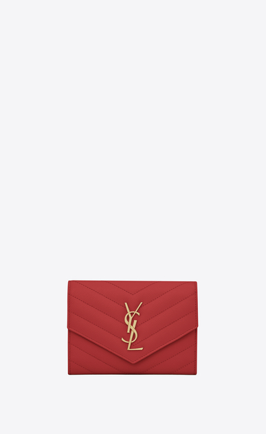 SAINT LAURENT Monogram Matelassé D monogram passport case in lipstick red a_V4