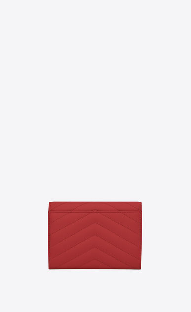 SAINT LAURENT Monogram Matelassé D monogram passport case in lipstick red b_V4