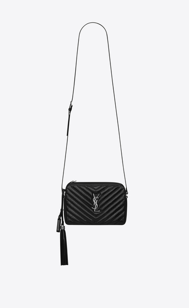SAINT LAURENT Camera bag Woman small lou camera bag in black matelassé leather a_V4