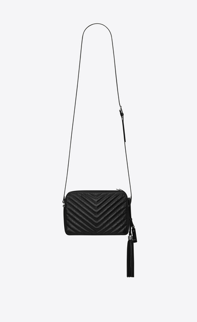 SAINT LAURENT Camera bag Woman small lou camera bag in black matelassé leather b_V4
