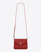 "SAINT LAURENT Monogramme Loulou D Toy loulou Strap Bag in red ""Y"" MATELASSÉ leather f"