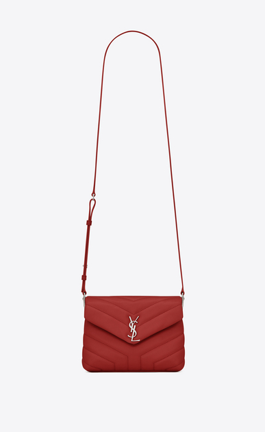"SAINT LAURENT Monogramme Loulou D Toy loulou Strap Bag in red ""Y"" MATELASSÉ leather a_V4"