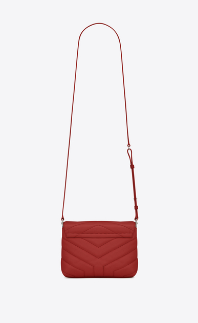 "SAINT LAURENT Monogramme Loulou D Toy loulou Strap Bag in red ""Y"" MATELASSÉ leather b_V4"
