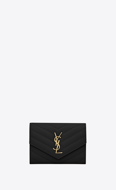 SAINT LAURENT Monogram Matelassé D monogram passport case in black a_V4