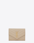 SAINT LAURENT Monogram Matelassé D monogram passport case in powder f