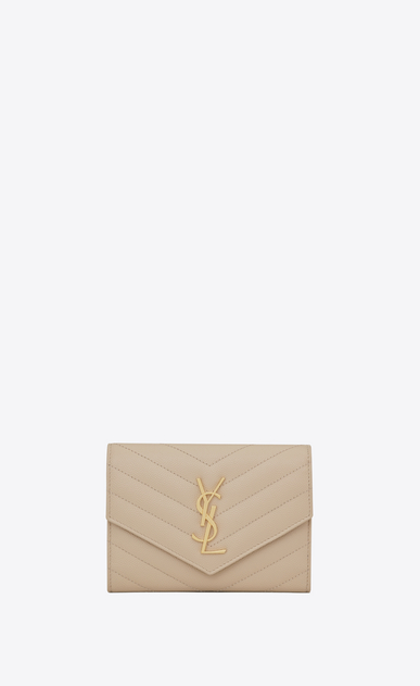 SAINT LAURENT Monogram Matelassé D monogram passport case in powder a_V4