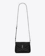 "SAINT LAURENT Monogramme Loulou D Toy loulou Strap Bag in Black ""Y"" MATELASSÉ leather f"