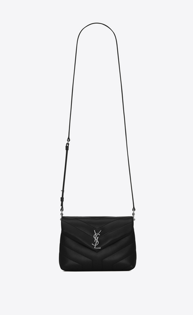 "SAINT LAURENT Monogramme Loulou D Toy loulou Strap Bag in Black ""Y"" MATELASSÉ leather a_V4"