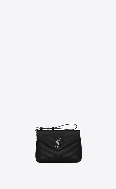 "SAINT LAURENT Monogramme Loulou D Toy loulou Strap Bag in Black ""Y"" MATELASSÉ leather b_V4"