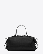 Small ID Convertible Bag in Black crocodile embossed leather