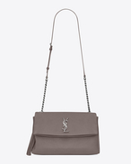 SAINT LAURENT West Hollywood D sac à pompon monogramme west hollywood en cuir gris brouillard f