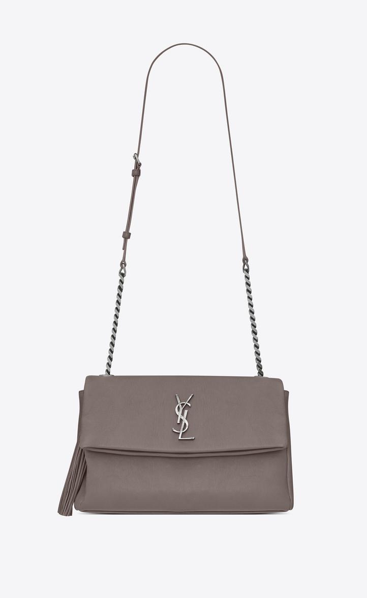 Saint Laurent Monogram West Hollywood Tassel Bag In Fog Leather