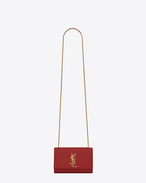 SAINT LAURENT MONOGRAM KATE D Kleine Kate Monogram Saint Laurent Satchel-Tasche in Lippenstiftrot f