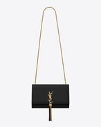SAINT LAURENT MONOGRAM KATE WITH TASSEL D Satchel à pompon medium KATE MONOGRAMME SAINT LAURENT noir f