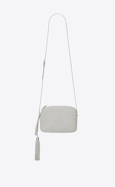 SAINT LAURENT Camera bag Woman lou camera bag in chalk white leather a_V4