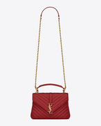 SAINT LAURENT Monogram College D classic medium monogram collège bag in red matelassé leather f