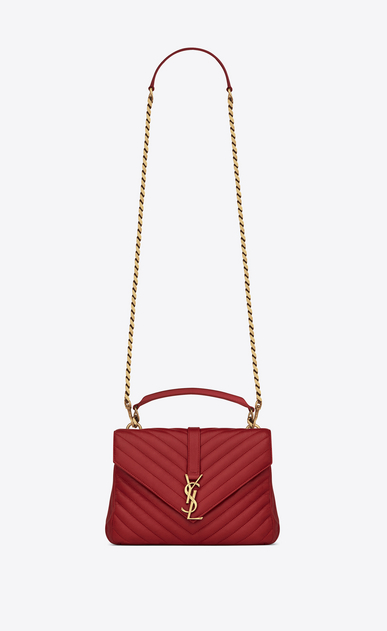 SAINT LAURENT Monogram College D classic medium collège bag in red matelassé leather a_V4