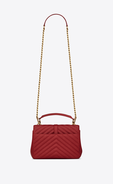 SAINT LAURENT Monogram College D classic medium collège bag in red matelassé leather b_V4