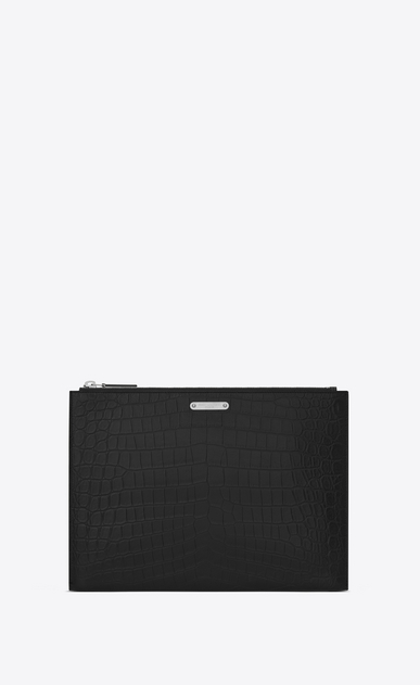 SAINT LAURENT ID SLG U Custodia per tablet ID nera in coccodrillo stampato a_V4
