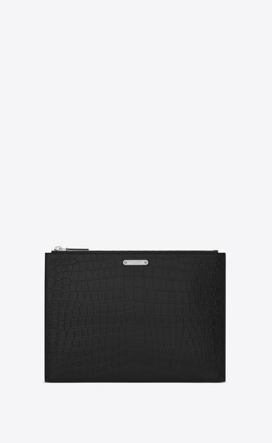 SAINT LAURENT ID SLG U ID Tablet Holder in Black crocodile embossed leather v4