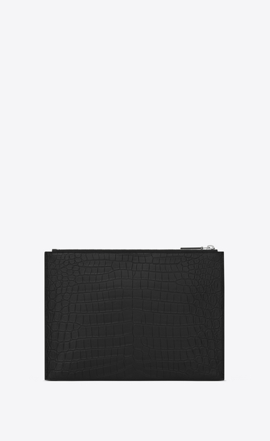 SAINT LAURENT ID SLG U Custodia per tablet ID nera in coccodrillo stampato b_V4