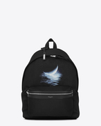SAINT LAURENT Backpack U Zaino CITY Moonlight nero, bianco e grigio f