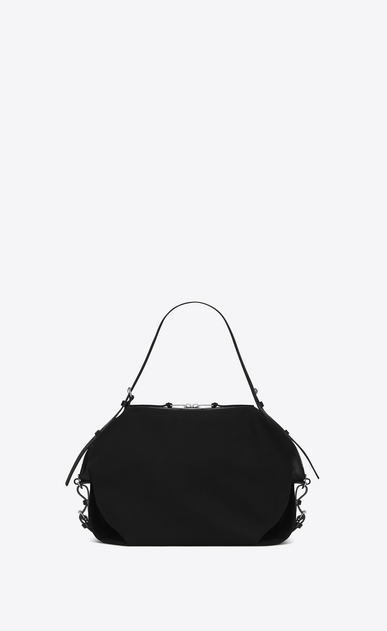 SAINT LAURENT ID bags U Medium ID Convertible Bag in Black canvas a_V4