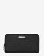 SAINT LAURENT ID SLG U ID Zip Around Wallet in Black crocodile embossed leather f