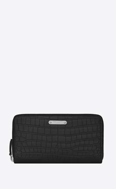 SAINT LAURENT ID SLG Man ID Zip Around Wallet in Black crocodile embossed leather a_V4