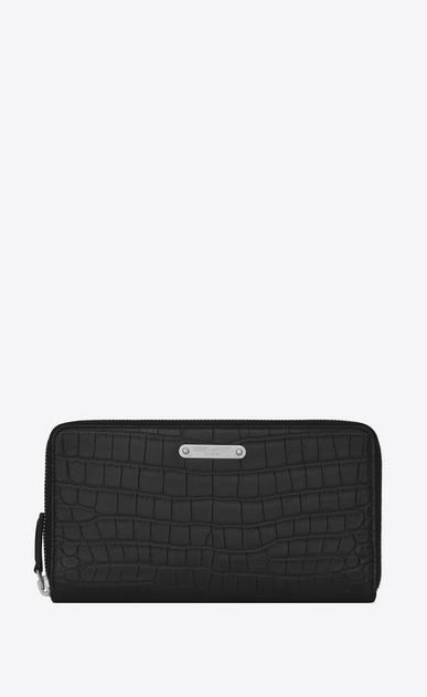 SAINT LAURENT ID SLG U ID Zip Around Wallet in Black crocodile embossed leather v4