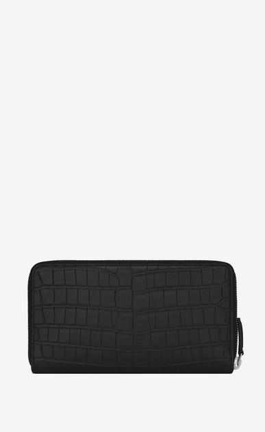 SAINT LAURENT ID SLG Man ID Zip Around Wallet in Black crocodile embossed leather b_V4