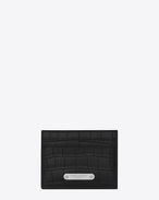 SAINT LAURENT ID SLG U ID Credit Card Case in Black crocodile embossed leather f