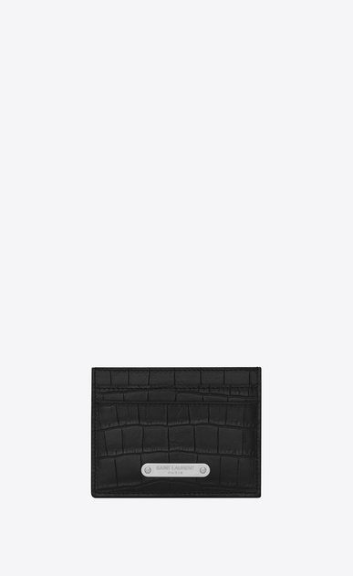 SAINT LAURENT ID SLG U ID Credit Card Case in Black crocodile embossed leather a_V4