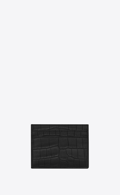 SAINT LAURENT ID SLG Man ID Credit Card Case in Black crocodile embossed leather b_V4