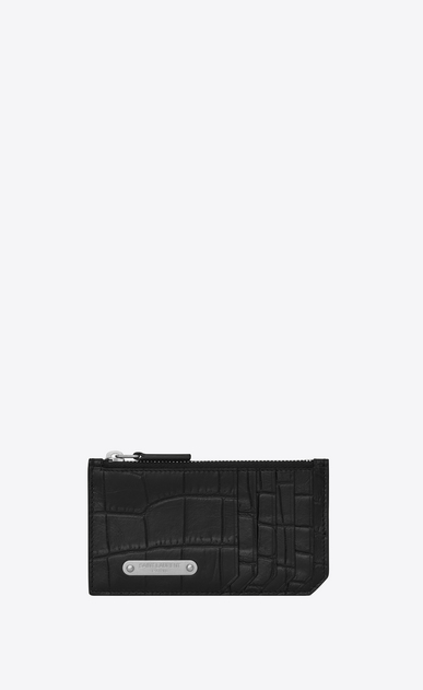 SAINT LAURENT ID SLG U ID FRAGMENTS Zip Pouch in Black crocodile embossed leather a_V4