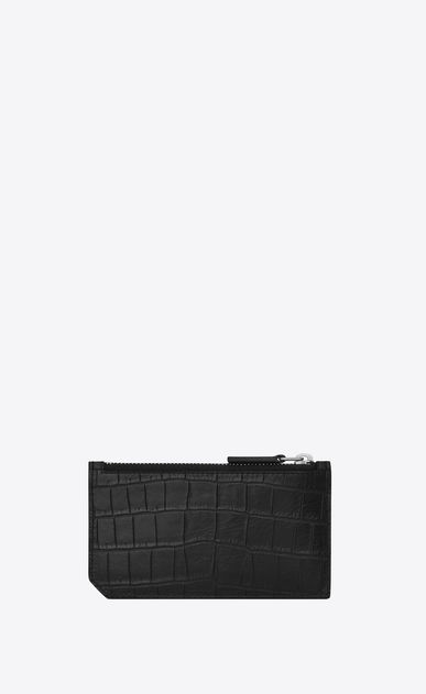 SAINT LAURENT ID SLG U ID FRAGMENTS Zip Pouch in Black crocodile embossed leather b_V4