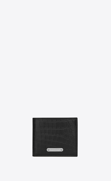 SAINT LAURENT ID SLG Man ID East/West Wallet in Black crocodile embossed leather a_V4