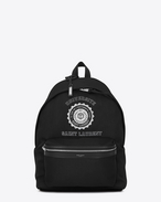 SAINT LAURENT Backpack U Zaino a stampa CITY SAINT LAURENT UNIVERSITÉ nero e bianco f